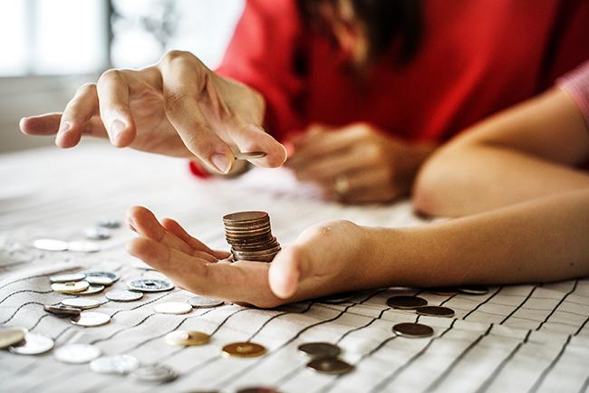 Жінка розраховує свою економіку.